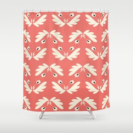 Coral folk flowers - seamless pattern based on living coral by Pantone Shower Curtain