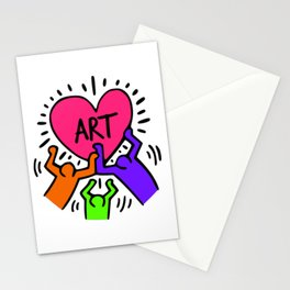 """Keith Haring inspired """"I Love Art"""" Secondary Colors edition Stationery Cards"""