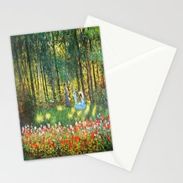 Claude Monet The Artist's Family In The Garden Stationery Cards