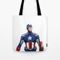 captain silva Tote Bags featuring Captain by Carrillo Art Studio