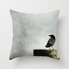 Crow at Sea Throw Pillow