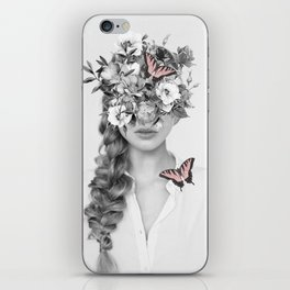 woman with flowers and butterflies 9a iPhone Skin