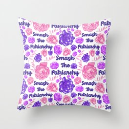 Smash The Patriarchy - Cute Floral Print Throw Pillow