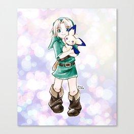 Young Link and Pichu Super Smash Bros Cute Kawaii Anime Fan Art Canvas Print