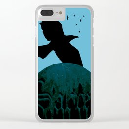 Sacred Gothic Text Gravestone With Crows and Ravens Clear iPhone Case