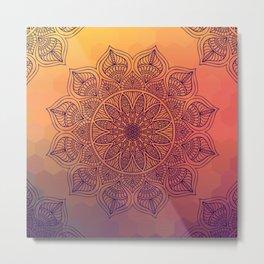 Peach Mandala Metal Print