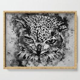 owl winking splatter watercolor black white Serving Tray