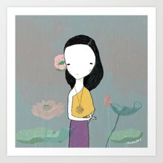 Girl with water lilies Art Print