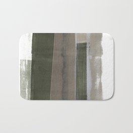 Taupe and Earthy Green Geometric Abstract Monotype Bath Mat