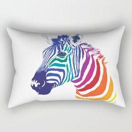 Rainbow Zebra Colorful Animals Whimsical Art Rectangular Pillow