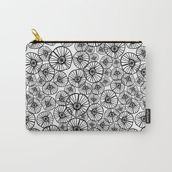 Lexi - squiggle modern black and white hand drawn pattern design pinwheels natural organic form abst Carry-All Pouch