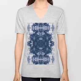 Shibori Tie Dye 2 Indigo Blue Unisex V-Neck