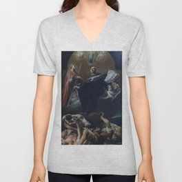 Giuseppe Crespi - The Immaculate Conception with St Anselm and St Martin Unisex V-Neck