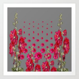 GREY RED-PINK HOLLYHOCK  LOVERS  PATTERN GARDEN Art Print