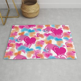 Pastel Hearts Pattern. Hearts Pattern.Pink Blue Orange Light Pink. Happy Valentine. Hearts. Love Rug