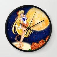 sailor venus Wall Clocks featuring Sailor Venus by HaruShadows