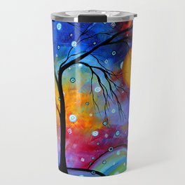 """Winter Sparkle"" Original Whimsical Contemporary Painting, Art by Megan Duncanson MADART Travel Mug"