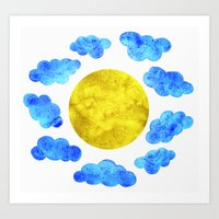 Cute blue cartoon clouds and sun. Art Print