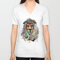 king V-neck T-shirts featuring Lion by Felicia Atanasiu