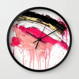Modern abstract pink black gold brushstrokes splatters acrylic paint Wall Clock
