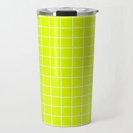 Chartreuse (traditional) - green color - White Lines Grid Pattern Travel Mug