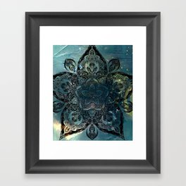Flower mandala -night Framed Art Print