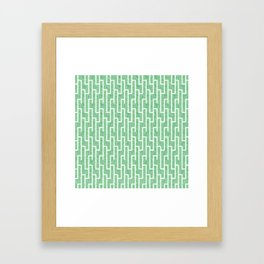 Green latticework pattern Framed Art Print