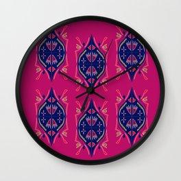 Luxury arabic ornaments blue pink Wall Clock