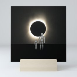 Wooden Anatomy Father Doll and Child before Total Solar Eclipse Mini Art Print