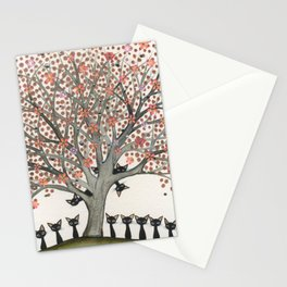 Barbados Whimsical Cats in Tree Stationery Cards