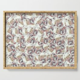 Giant money background 50 pound notes / 3D render of thousands of 50 pound notes Serving Tray