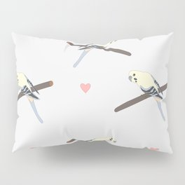 Seamless hand drawn pattern with beautiful couple of birds Pillow Sham