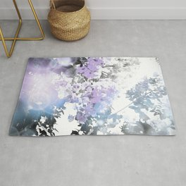Watercolor Floral Lavender Teal Gray Rug