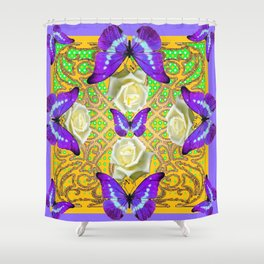 LILAC PURPLE BUTTERFLIES ABSTRACT GARDEN Shower Curtain