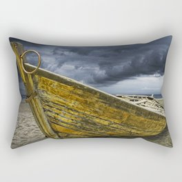 Beached Boat with Storm Brewing Rectangular Pillow