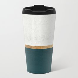 Deep Green, Gold and White Color Block Metal Travel Mug