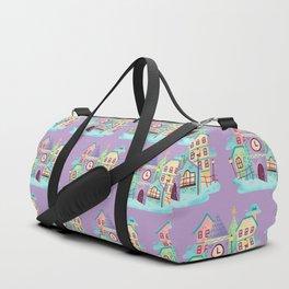 Watercolor Cute Town Scene Duffle Bag
