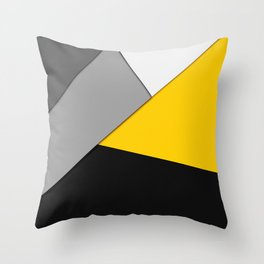 Simple Modern Gray Yellow and Black Geometric Throw Pillow