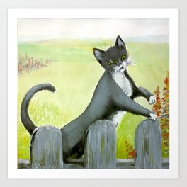 Cat At Edge of Field* Art Print