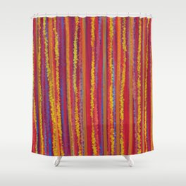 Stripes  - Cheerful yellow orange red and blue Shower Curtain