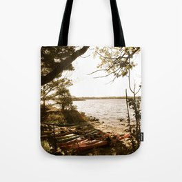 Kayaks by the Shore Tote Bag
