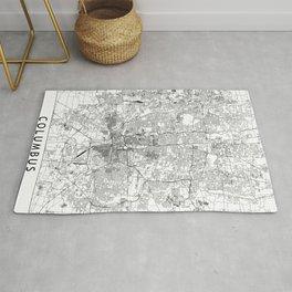 Columbus White Map Rug
