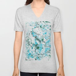 White and blue Marble texture acrylic Liquid paint art Unisex V-Neck