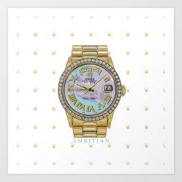 Day-Date Presidential | 18K | 4 Carat Diamond Bezel | Light Mother of Pearl Roman Art Print