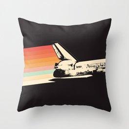 Spaceship - Rainbow Throw Pillow