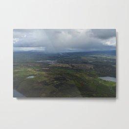 Here comes the rain, Approaching rainstorm over the mountains of Sligo move towards Sligo Town Metal Print