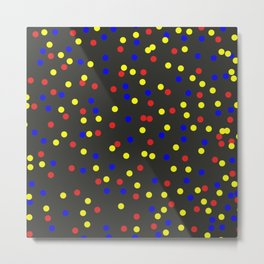 Primary Scatter - Abstract red, yellow and blue polka dots Metal Print