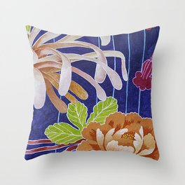 Kimono Flowers Throw Pillow