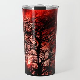 black trees red space Travel Mug
