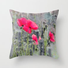 Poppies(mist)2. Throw Pillow
